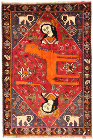 Qashqai Rug 134X201 Authentic  Oriental Handknotted Dark Brown/Crimson Red (Wool, Persia/Iran)