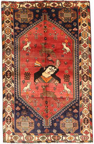 Qashqai Rug 161X255 Authentic  Oriental Handknotted Dark Red/Rust Red (Wool, Persia/Iran)
