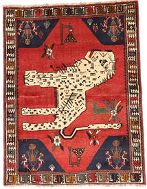 Qashqai Rug 121X159 Authentic  Oriental Handknotted Dark Brown/Rust Red (Wool, Persia/Iran)