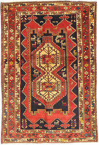 Afshar Rug 137X205 Authentic Oriental Handknotted Rust Red/Dark Blue (Wool, Persia/Iran)