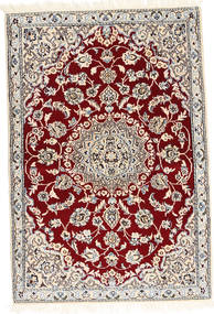 Nain 9La Rug 92X136 Authentic  Oriental Handknotted Dark Red/Beige (Wool/Silk, Persia/Iran)