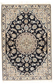 Nain 9La Teppe 90X138 Ekte Orientalsk Håndknyttet Lys Grå/Mørk Grå/Beige (Ull/Silke, Persia/Iran)