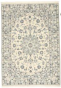 ナイン 9La 絨毯 138X198 オリエンタル 手織り ベージュ/薄い灰色 (ウール/絹, ペルシャ/イラン)