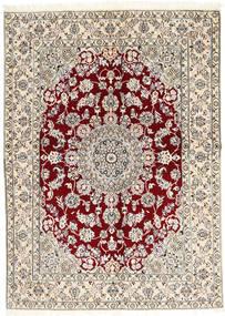 Nain 9La Tappeto 146X203 Orientale Fatto A Mano Grigio Chiaro/Beige (Lana/Seta, Persia/Iran)