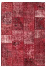 Patchwork Matta 159X231 Äkta Modern Handknuten Mörkröd/Röd (Ull, Turkiet)