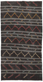 Kilim Semi Antique Turkish Rug 174X337 Authentic  Oriental Handwoven Dark Brown/Dark Grey (Wool, Turkey)
