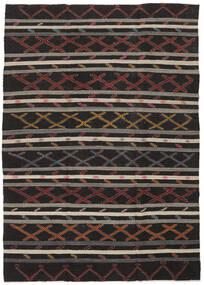 Kelim Semi Antický Turecko Koberec 235X334 Orientální Ruční Tkaní Černá/Světle Hnědá (Vlna, Turecko)