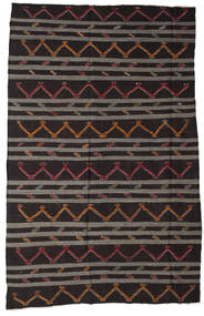 Kelim Semiantik Turkisk Matta 237X370 Äkta Orientalisk Handvävd Mörkbrun/Mörkgrå (Ull, Turkiet)