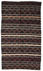 Kelim Semiantik Turkisk Matta 210X357 Äkta Orientalisk Handvävd Mörkbrun/Mörkgrå (Ull, Turkiet)