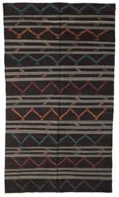 Kelim Halvt Antikke Tyrkiske Teppe 201X351 Ekte Orientalsk Håndvevd Svart/Mørk Grå (Ull, Tyrkia)