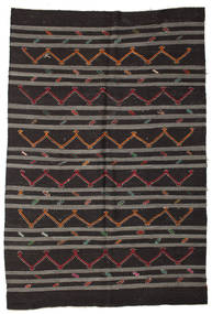Kilim Semi Antique Turkish Rug 240X350 Authentic  Oriental Handwoven Black/Dark Grey (Wool, Turkey)
