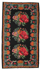 Rose Kelim Moldavia Rug 182X330 Authentic  Oriental Handwoven Black/Dark Red (Wool, Moldova)