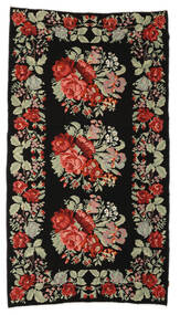 Rose Kelim Moldavia Rug 174X321 Authentic  Oriental Handwoven Black/Dark Brown (Wool, Moldova)
