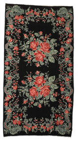 Rose Kelim Moldavia Rug 192X360 Authentic  Oriental Handwoven Black/Dark Grey (Wool, Moldova)