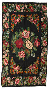 Rose Kelim Moldavia Rug 176X338 Authentic Oriental Handwoven Black/Dark Green (Wool, Moldova)