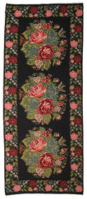 Rose Kelim Moldavia Rug 196X470 Authentic  Oriental Handwoven Hallway Runner  Dark Grey (Wool, Moldova)