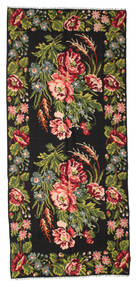 Rose Kelim Moldavia Rug 158X361 Authentic Oriental Handwoven Hallway Runner Black/Dark Green (Wool, Moldova)