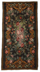 Rose Kelim Moldavia Rug 196X380 Authentic  Oriental Handwoven Black/Brown (Wool, Moldova)