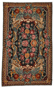 Rose Kelim Moldavia Rug 7′x11′9″ Authentic  Oriental Handwoven Dark Grey/Dark Brown (Wool, Moldova)