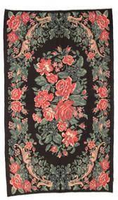 Kilim Rose Moldavia Dywan 170X287 Orientalny Tkany Ręcznie Czarny/Ciemnoszary (Wełna, Mołdawia)