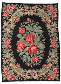 Rose Kelim Moldavia Rug 5′9″x7′11″ Authentic  Oriental Handwoven Black/Dark Grey (Wool, Moldova)