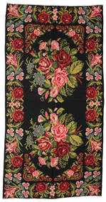 Rose Kelim Moldavia Rug 203X397 Authentic  Oriental Handwoven Dark Grey/Rust Red (Wool, Moldova)