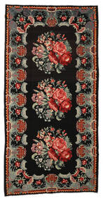 Rose Kelim Moldavia Rug 187X347 Authentic  Oriental Handwoven Black/Brown (Wool, Moldova)