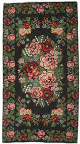 Rose Kelim Moldavia Rug 215X413 Authentic  Oriental Handwoven Dark Grey/Dark Green (Wool, Moldova)
