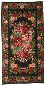 Kelim Rosen Moldavia Teppich  212X413 Echter Orientalischer Handgewebter Schwartz/Dunkelgrün (Wolle, Moldawien)