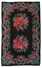 Rose Kelim Moldavia Rug 191X310 Authentic  Oriental Handwoven Black/Blue (Wool, Moldova)