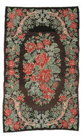 Rose Kelim Moldavia Rug 5′3″x8′8″ Authentic  Oriental Handwoven Hallway Runner  Black/Light Grey (Wool, Moldova)