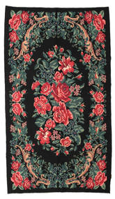 Rose Kelim Moldavia Rug 169X295 Authentic  Oriental Handwoven Black (Wool, Moldova)