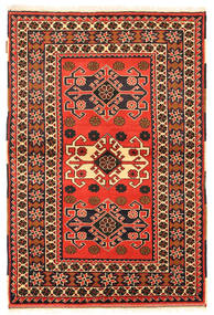 Kazak Matto 97X149 Itämainen Käsinsolmittu Oranssi/Musta (Villa, Pakistan)