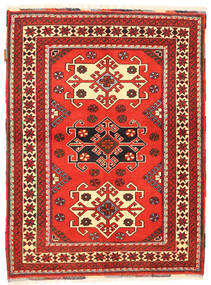 Kazak Vloerkleed 105X142 Echt Oosters Handgeknoopt Donkerrood/Oranje (Wol, Pakistan)