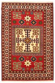 Kazak Matta 123X188 Äkta Orientalisk Handknuten Mörkröd/Roströd (Ull, Pakistan)