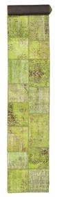 Patchwork Teppe 78X600 Ekte Moderne Håndknyttet Teppeløpere Lysgrønn (Ull, Tyrkia)