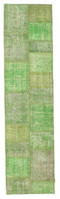 Patchwork Rug 78X300 Authentic  Modern Handknotted Hallway Runner  Light Green/Pastel Green (Wool, Turkey)