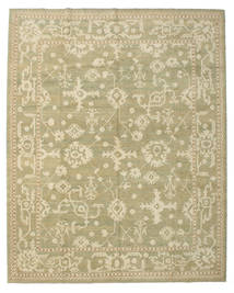 Oushak Rug 338X421 Authentic Oriental Handknotted Olive Green/Dark Beige Large (Wool, Turkey)
