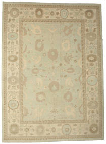 Oushak Rug 425X580 Authentic  Oriental Handknotted Dark Beige/Olive Green Large (Wool, Turkey)