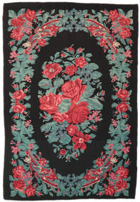 Rose Kelim Moldavia Rug 173X247 Authentic  Oriental Handwoven Black/Turquoise Blue (Wool, Moldova)