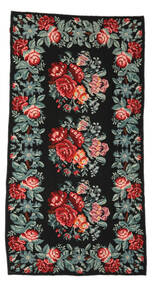 Rose Kelim Moldavia Rug 170X326 Authentic  Oriental Handwoven Black/Dark Grey (Wool, Moldova)