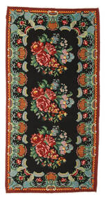 Rose Kelim Moldavia Rug 165X324 Authentic  Oriental Handwoven Black/Dark Red (Wool, Moldova)