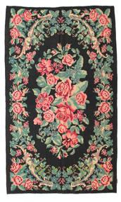Kelim Rosen Moldavia Teppich  154X288 Echter Orientalischer Handgewebter Schwartz/Lindgrün (Wolle, Moldawien)