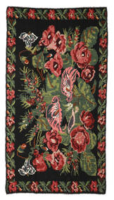 Rose Kelim Moldavia Rug 170X310 Authentic  Oriental Handwoven Black (Wool, Moldova)