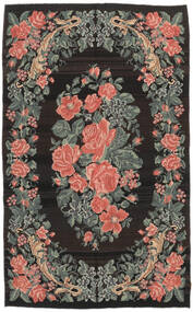 Rose Kelim Moldavia Rug 161X266 Authentic  Oriental Handwoven Black/Dark Grey (Wool, Moldova)
