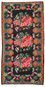 Rose Kelim Moldavia Rug 186X360 Authentic  Oriental Handwoven Black/Dark Green (Wool, Moldova)