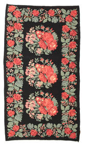 Rose Kelim Moldavia Rug 170X302 Authentic Oriental Handwoven Black/Light Green (Wool, Moldova)