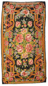 Rose Kelim Moldavia Rug 197X360 Authentic  Oriental Handwoven Brown/Black (Wool, Moldova)