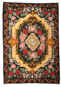 Rose Kelim Moldavia Rug 245X347 Authentic  Oriental Handwoven Black/Brown (Wool, Moldova)