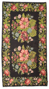 Rose Kelim Moldavia Rug 195X367 Authentic  Oriental Handwoven Black/Olive Green (Wool, Moldova)